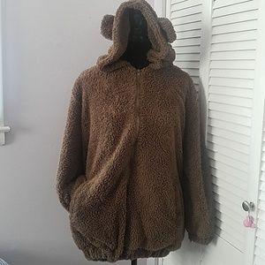 Jackets & Blazers - Teddy bear hooded fleece jacket